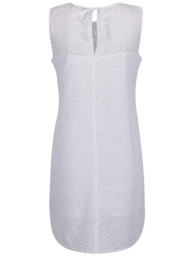 Bílé šaty bez rukávů s madeirou Dorothy Perkins
