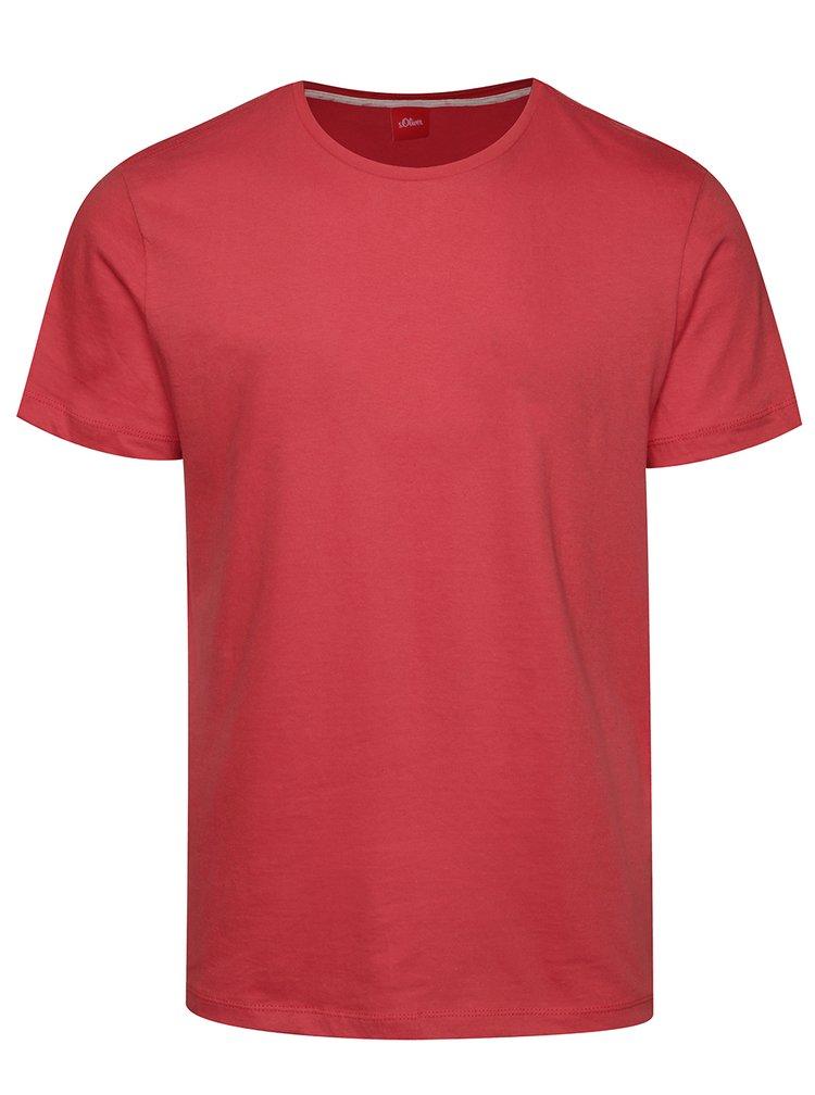 Tricou basic roz inchis din bumbac s.Oliver pentru barbati
