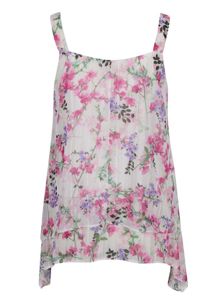 Růžovo-krémová volná květovaná halenka bez rukávů M&Co