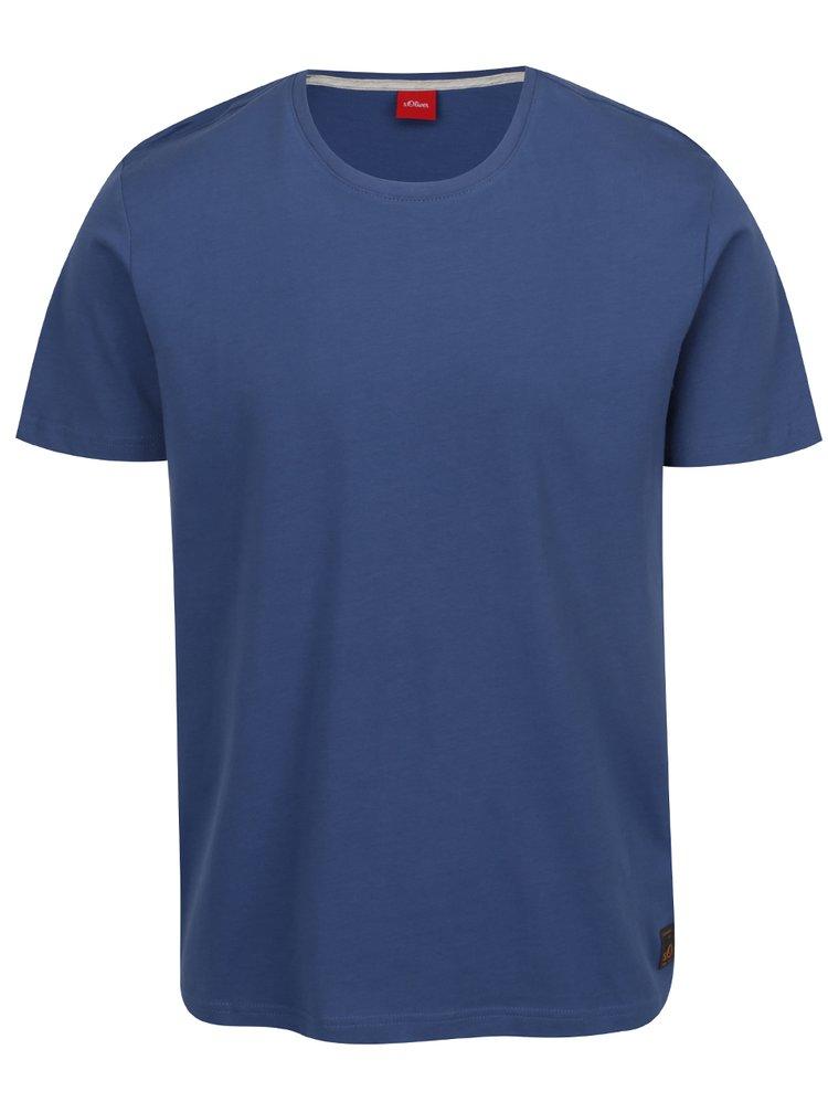 Modré pánske basic tričko s krátkym rukávom s.Oliver