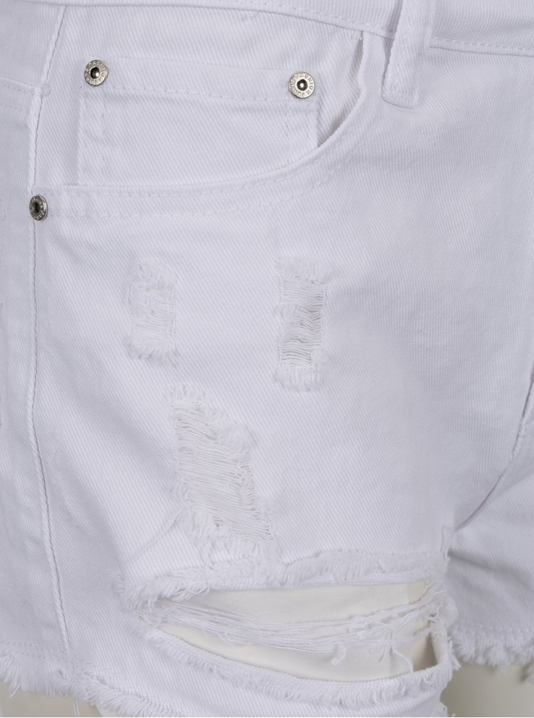 Bílé kraťasy s potrhaným efektem a vysokým pasem Haily´s Gina