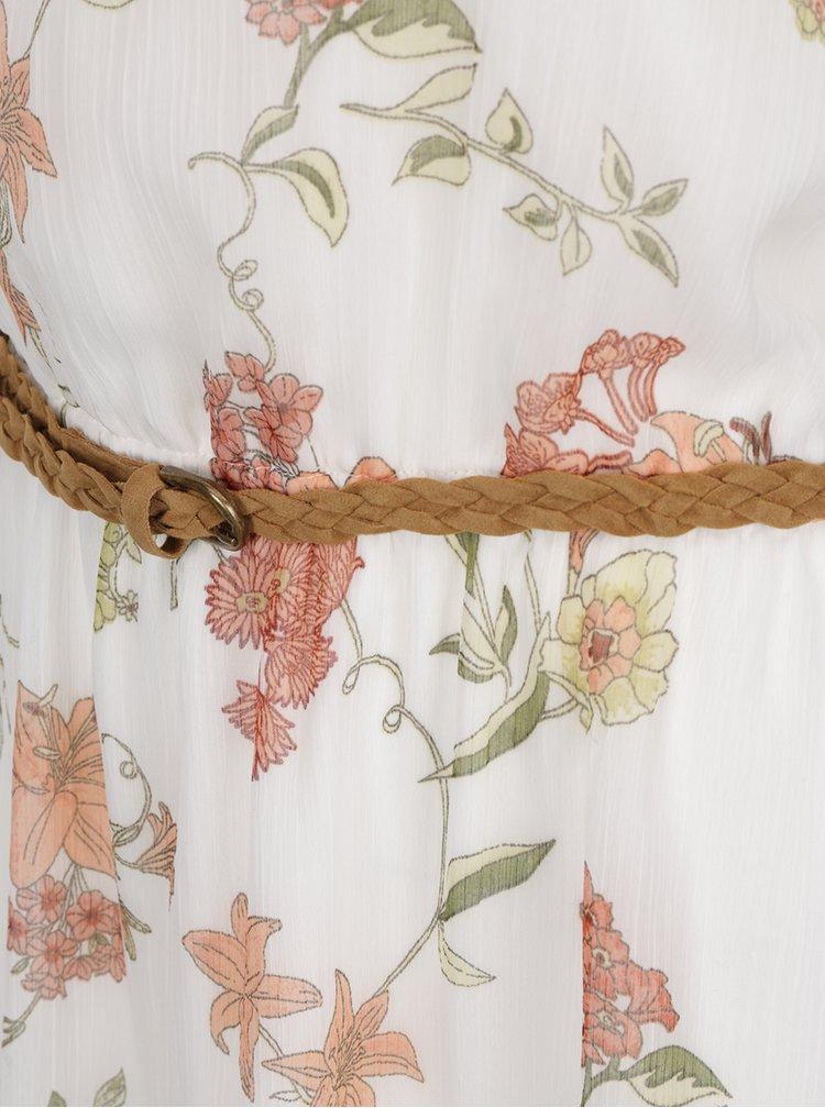 Krémové květované šaty bez rukávů ONLY Lia