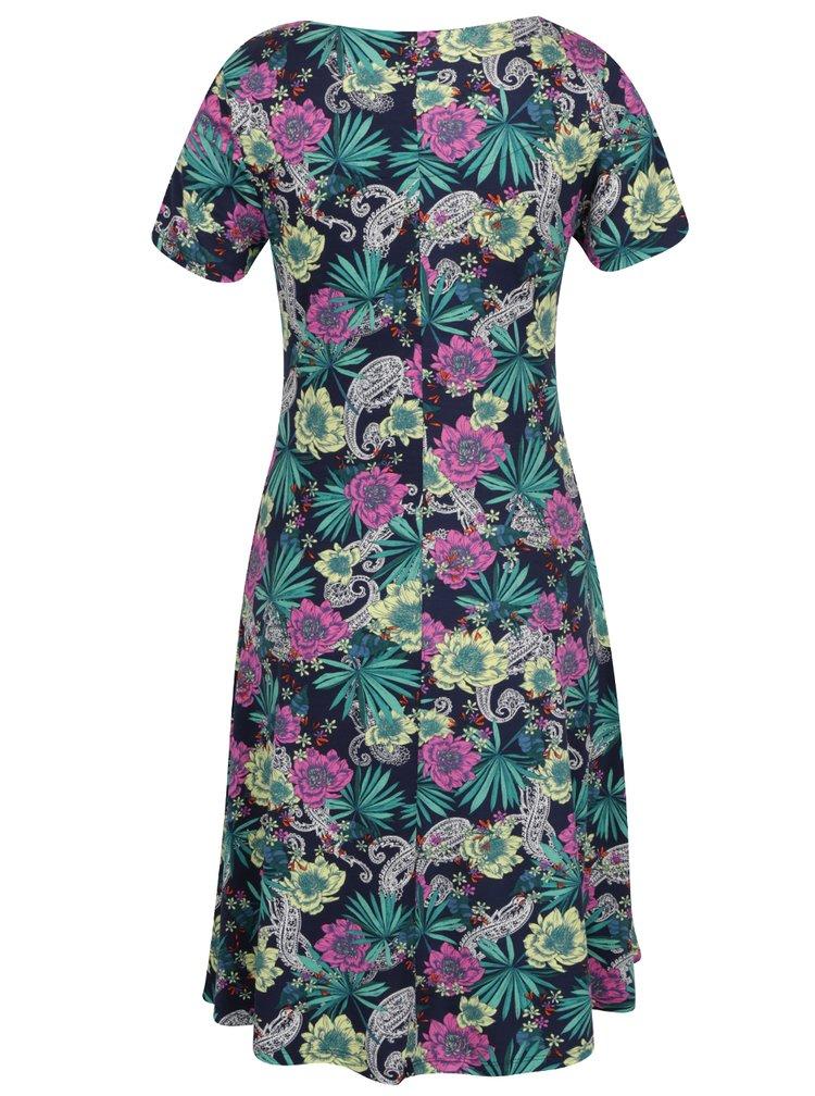 Zeleno-modré květované šaty s kapsami M&Co