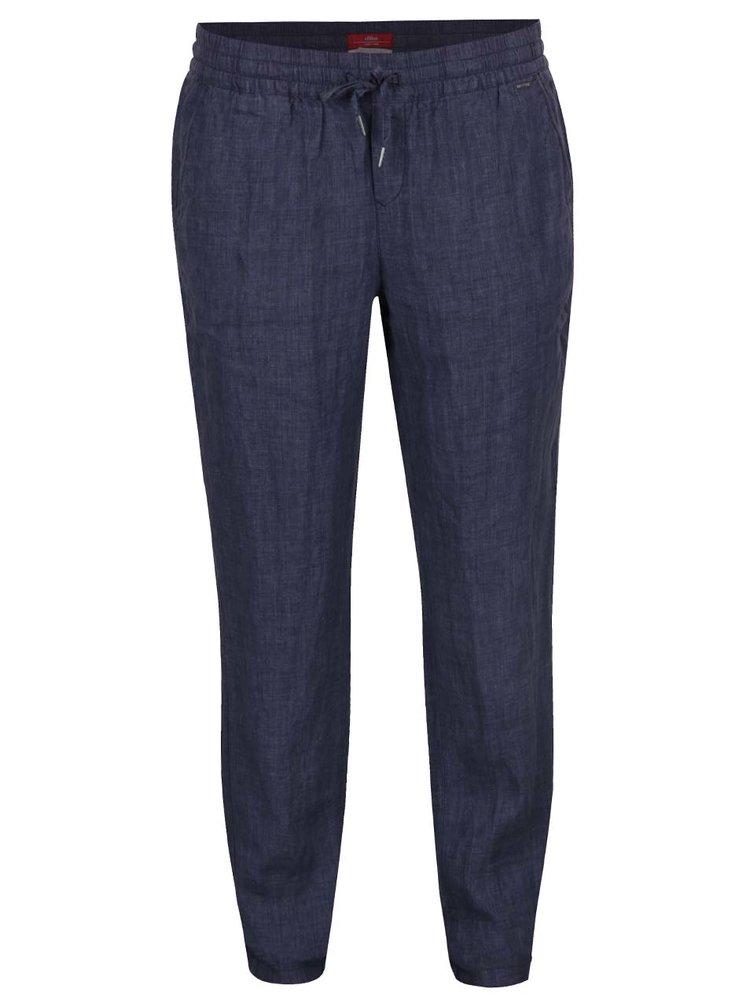 Pantaloni bleumarin din in s.Oliver pentru femei