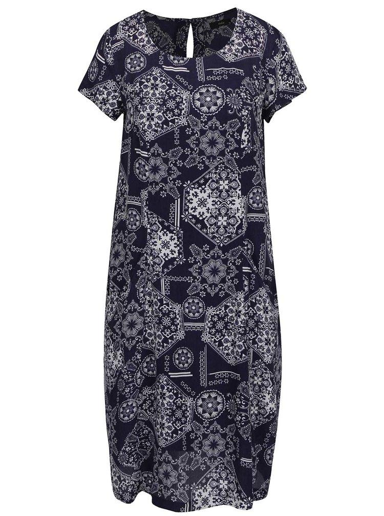 Tmavě modré vzorované šaty s kapsami a spodničkou M&Co
