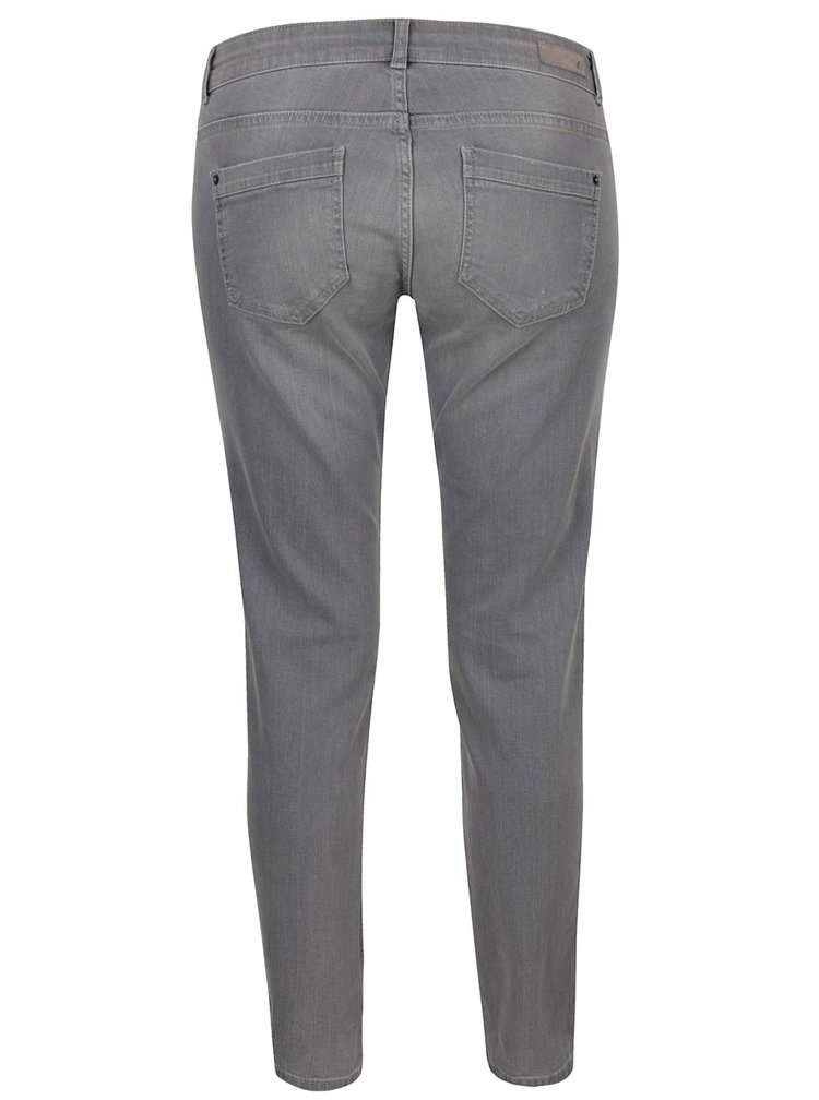 Šedé dámské zkrácené slim džíny s vyšisovaným efektem s.Oliver