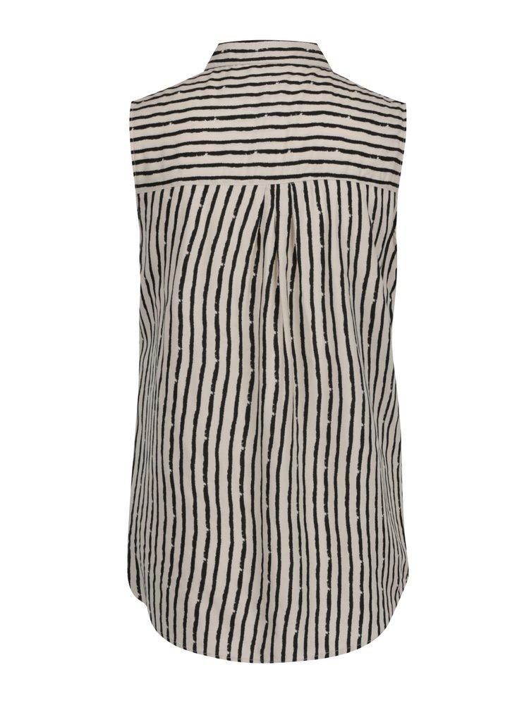 Černo-krémová pruhovaná halenka bez rukávů M&Co