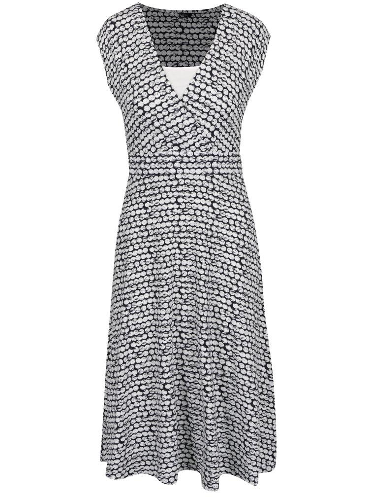 Krémovo-modré puntíkované šaty se zavazováním v pase M&Co