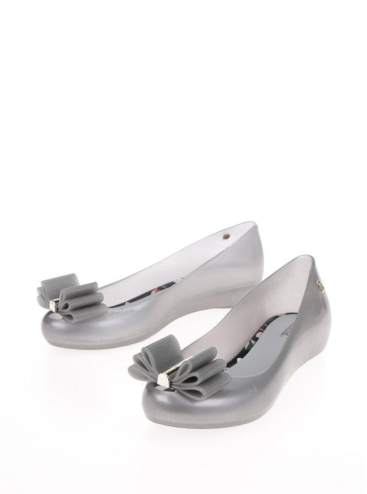 Baleríny s mašlí ve stříbrné barvě Melissa Ultragirl Sweet