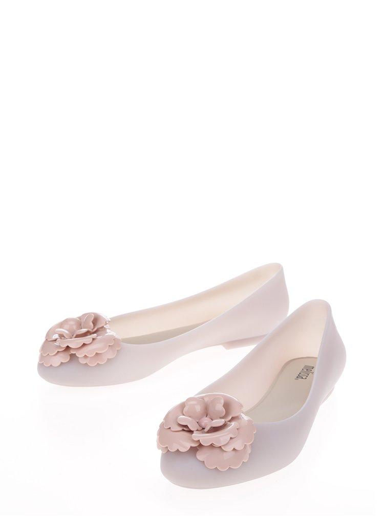 Krémové baleríny s růžovou aplikací ve tvaru květiny Melissa Doll Fem