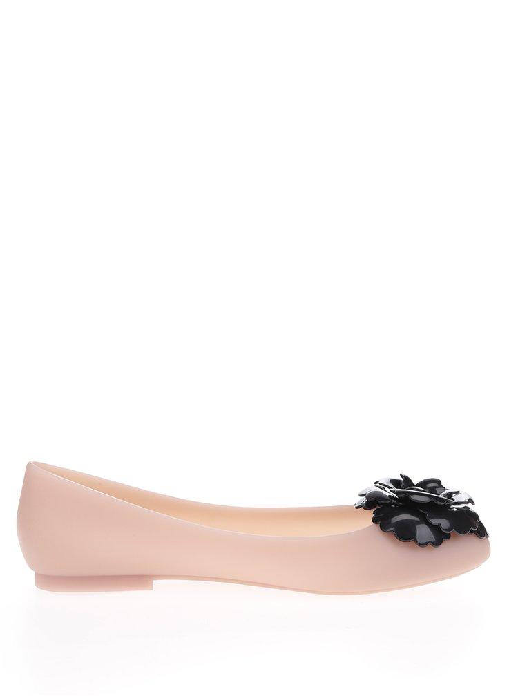 Růžové baleríny s černou aplikací ve tvaru květiny Melissa Doll Fem