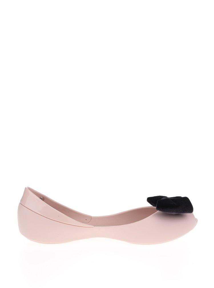 Růžové baleríny s černou sametovou mašlí Melissa Queen