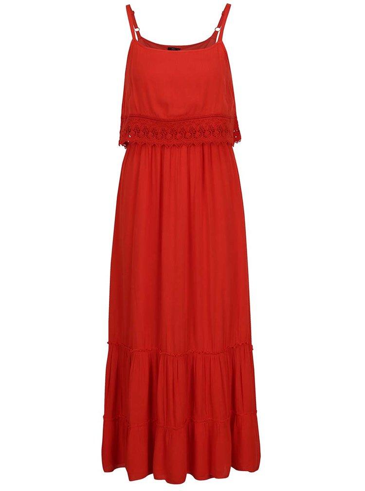 Červené maxišaty s odhalenými rameny a krajkovým lemem M&Co