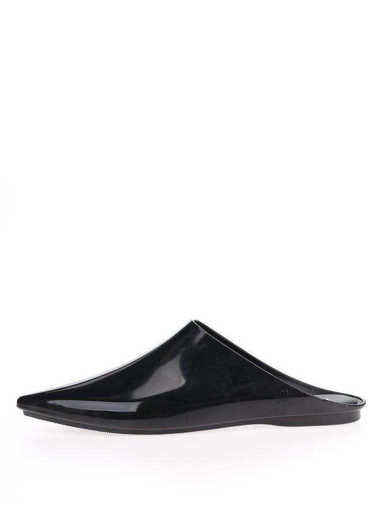 Černé lesklé pantofle do špičky Melissa She