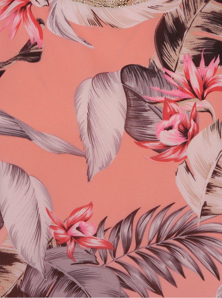 Růžová volná květovaná halenka se zdobením v dekoltu M&Co