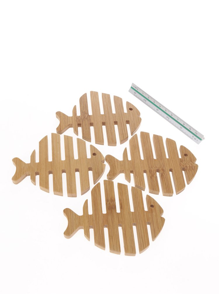 Sada čtyř hnědých dřevěných podtácků ve tvaru ryby Kikkerland