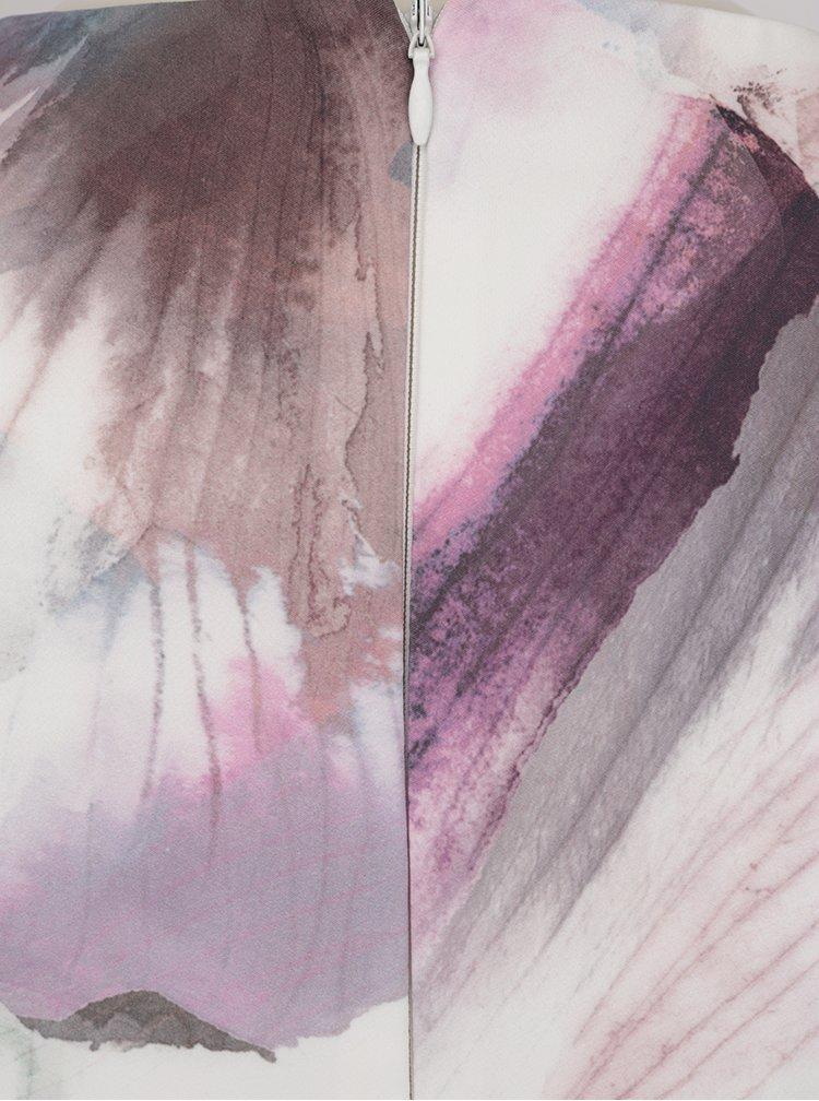 Růžovo-krémové vzorované šaty s volány na rukávech Little Mistress