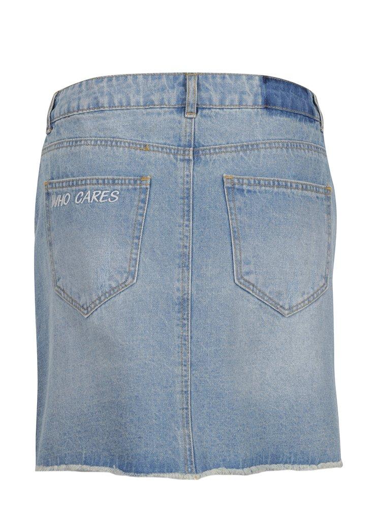Světle modrá džínová sukně s potrhaným efektem Noisy May Be Lucy