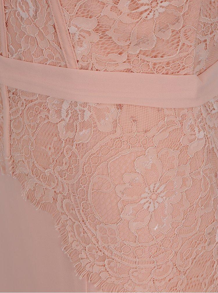 Světle růžové maxišaty s krajkovým zdobením Little Mistress