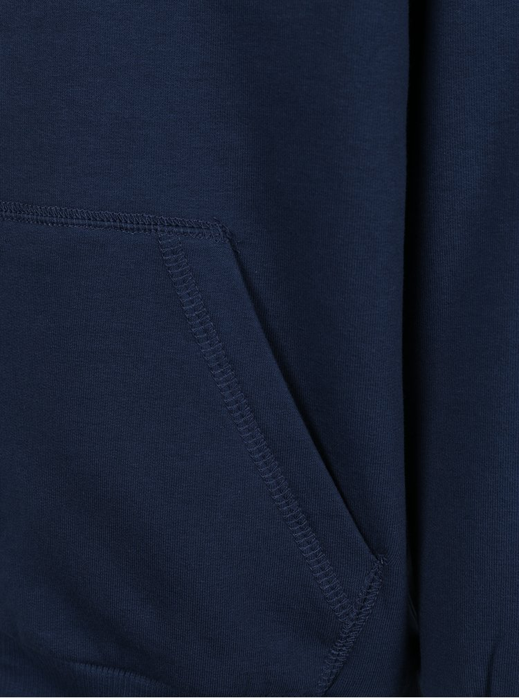 Tmavě modrá klučičí mikina na zip s kapucí name it Voltano