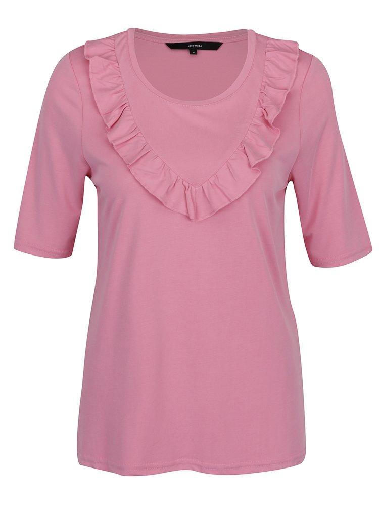 Ružové tričko s volánmi VERO MODA Maria
