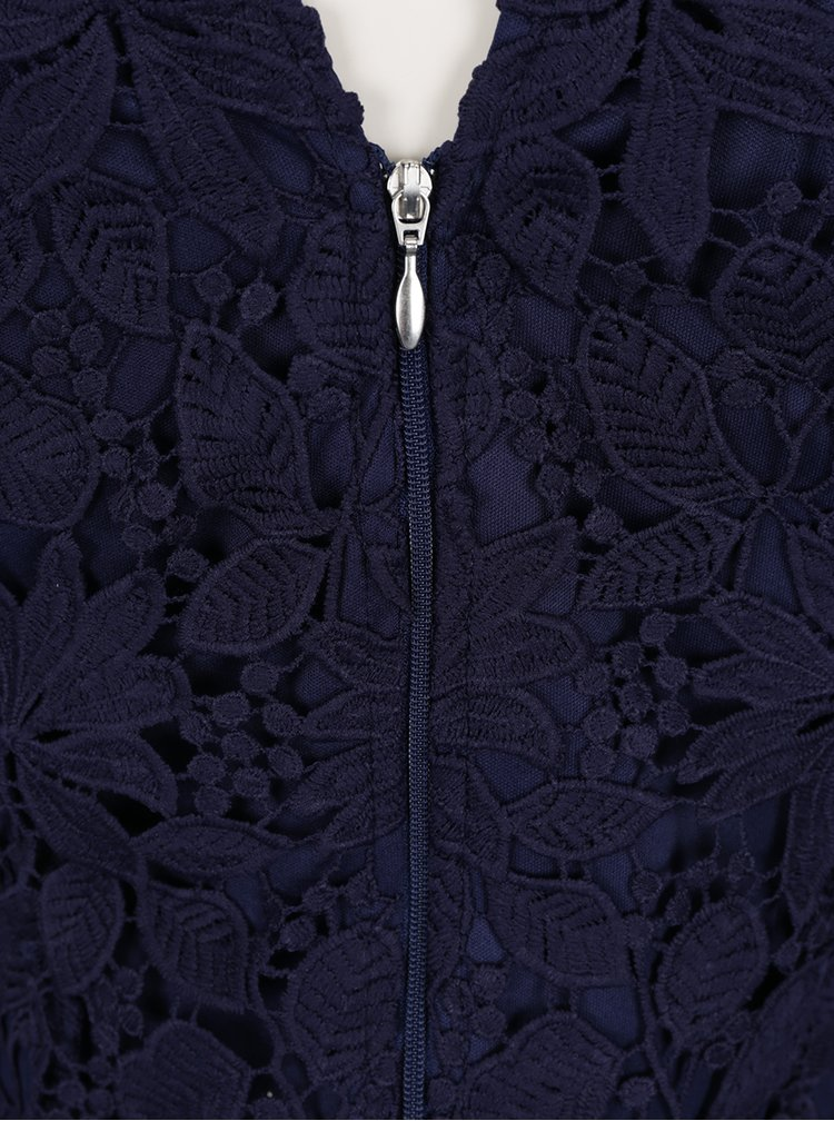 Tmavě modré krajkové šaty se stojáčkem Little Mistress