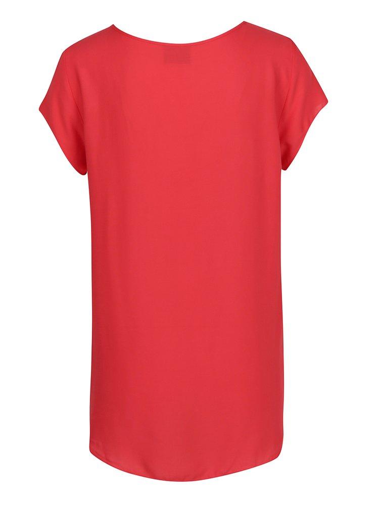 Tricou rosu corai din material vaporos VERO MODA Boca