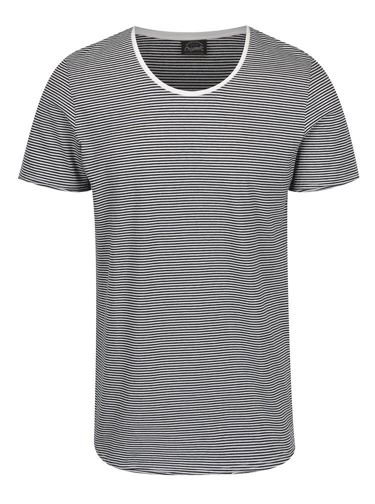 Černo-bílé pruhované triko s krátkým rukávem Jack & Jones Insta