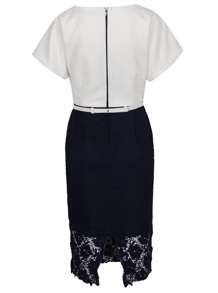 Krémovo-modré šaty s krajkovou sukní Paper Dolls