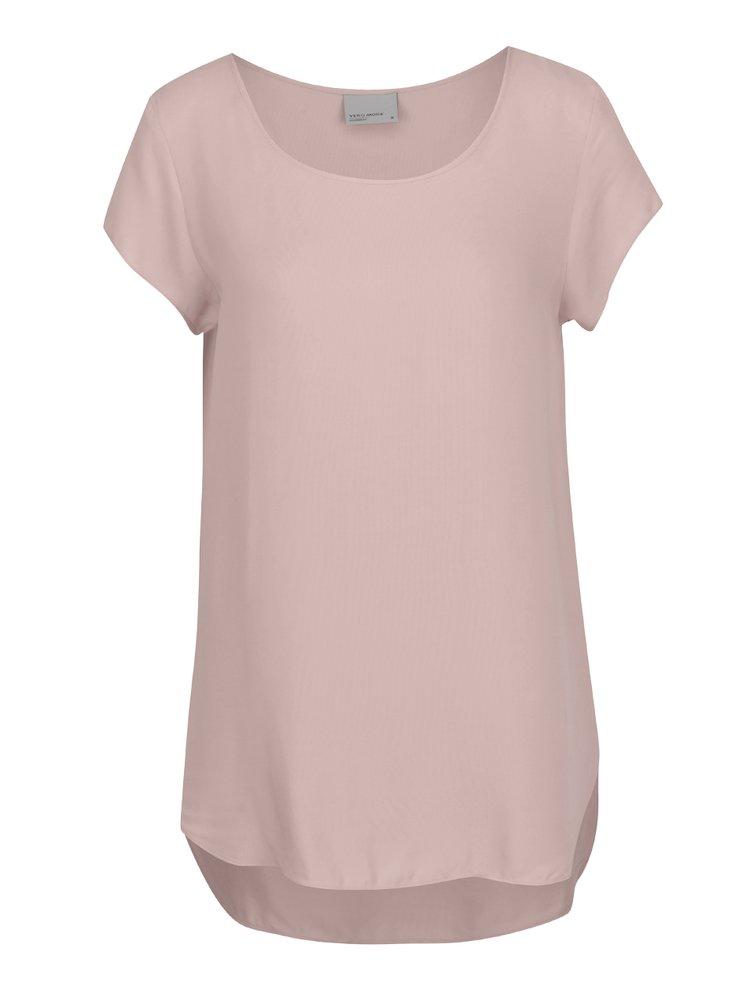 Tricou roz prafuit din material vaporos VERO MODA Boca