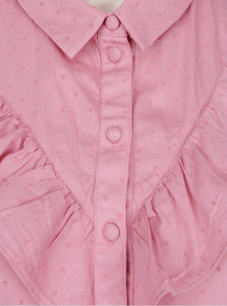 Růžová puntíkovaná halenka s volány VERO MODA Olivia