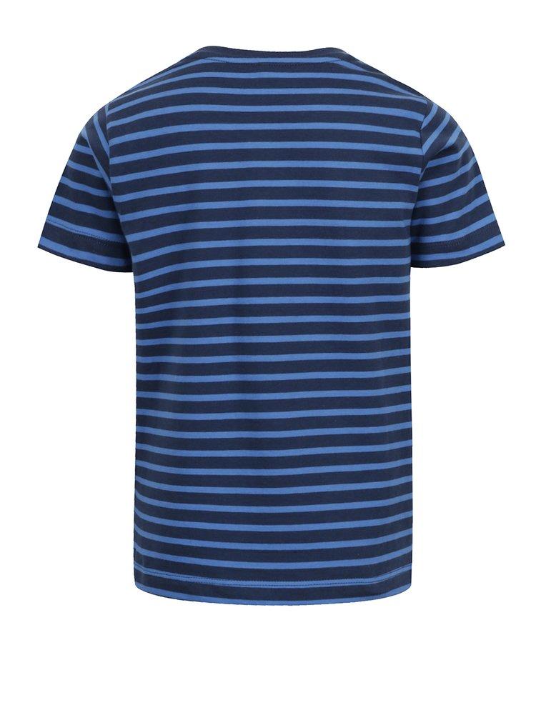Modré klučičí pruhované triko s potiskem name it Vuxhux