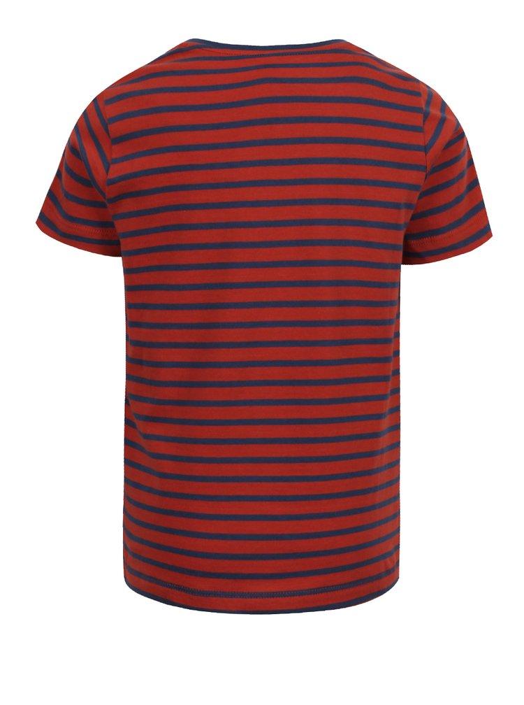 Červené klučičí pruhované triko s potiskem name it Vuxhux