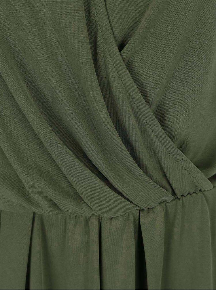 Khaki volné šaty s překládaným výstřihem VERO MODA Metti