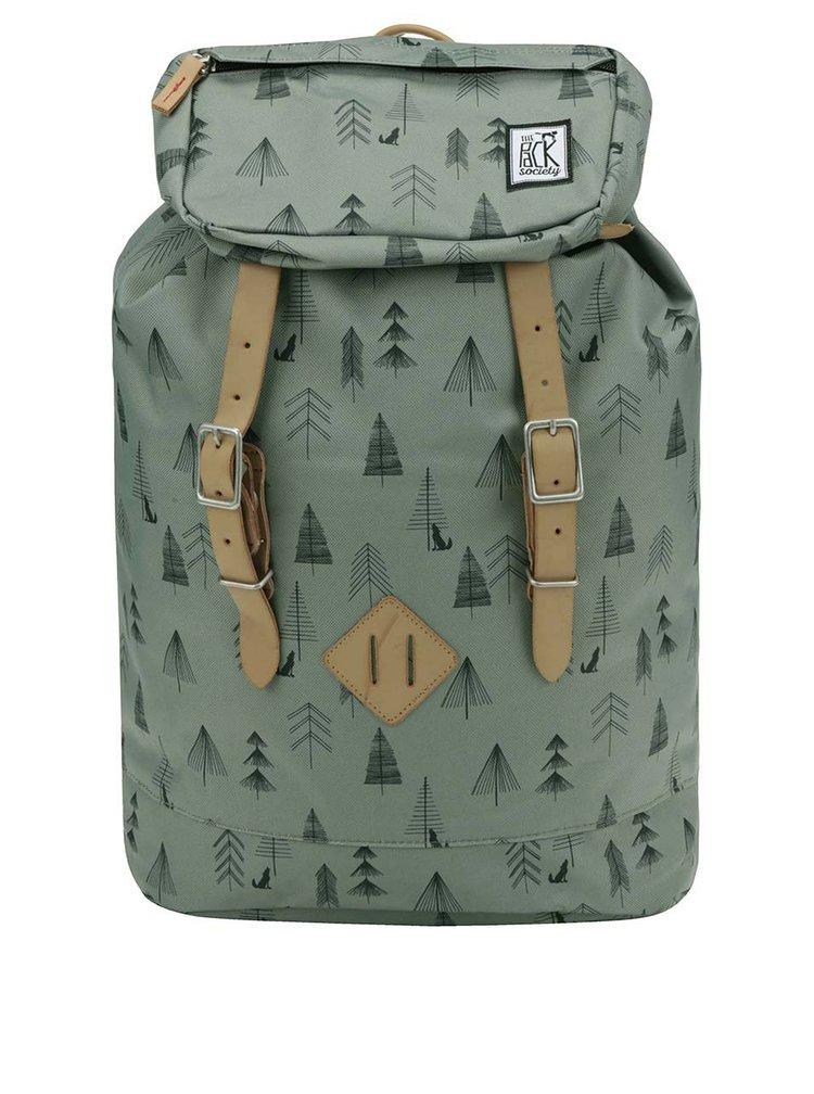 Zelený vzorovaný unisex batoh The Pack Society 23 l