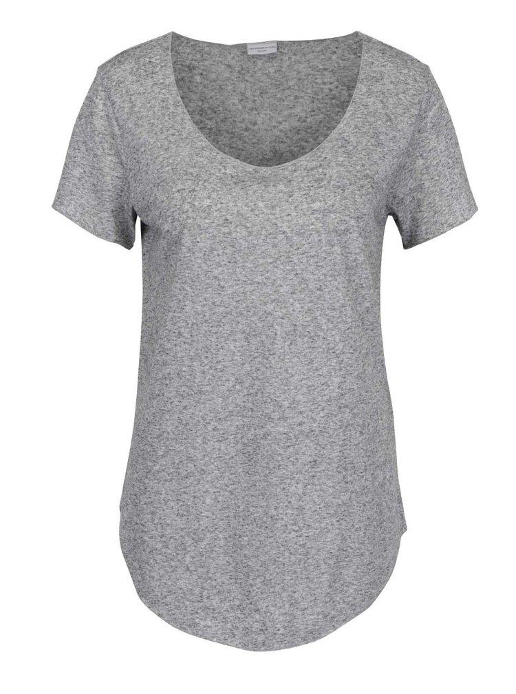 Světle šedé volné žíhané tričko s příměsí lnu Jacqueline de Yong