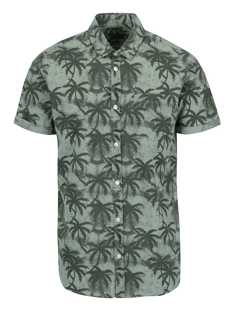 Šedo-zelená vzorovaná košile Jack & Jones Palm