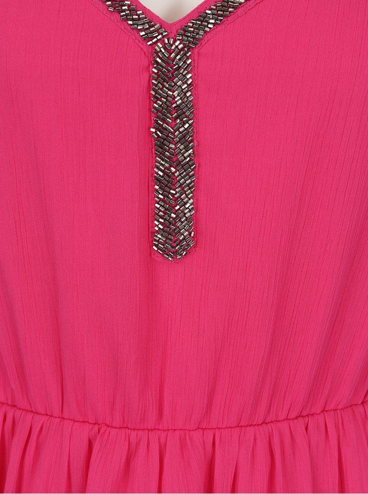 Rochie roz fara maneci din voal VERO MODA Lupe Bead