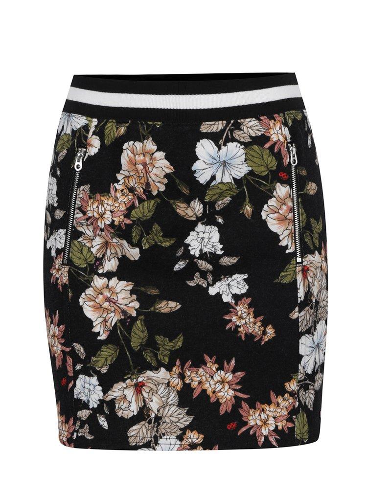 Fusta neagra Juicy Couture cu imprimeu floral