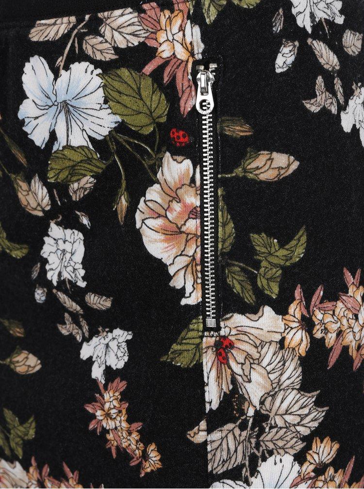 Černá květovaná mini sukně se zipy Juicy Couture