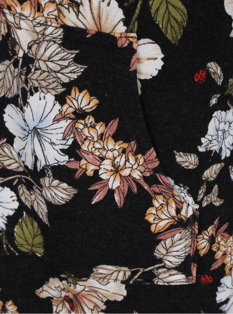 Černé květované mikinové minišaty s kapucí Juicy Couture