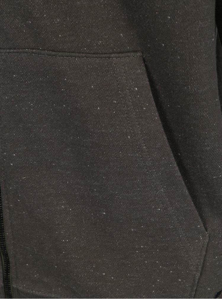 Khaki žíhaná mikina na zip ONLY & SONS Fiske