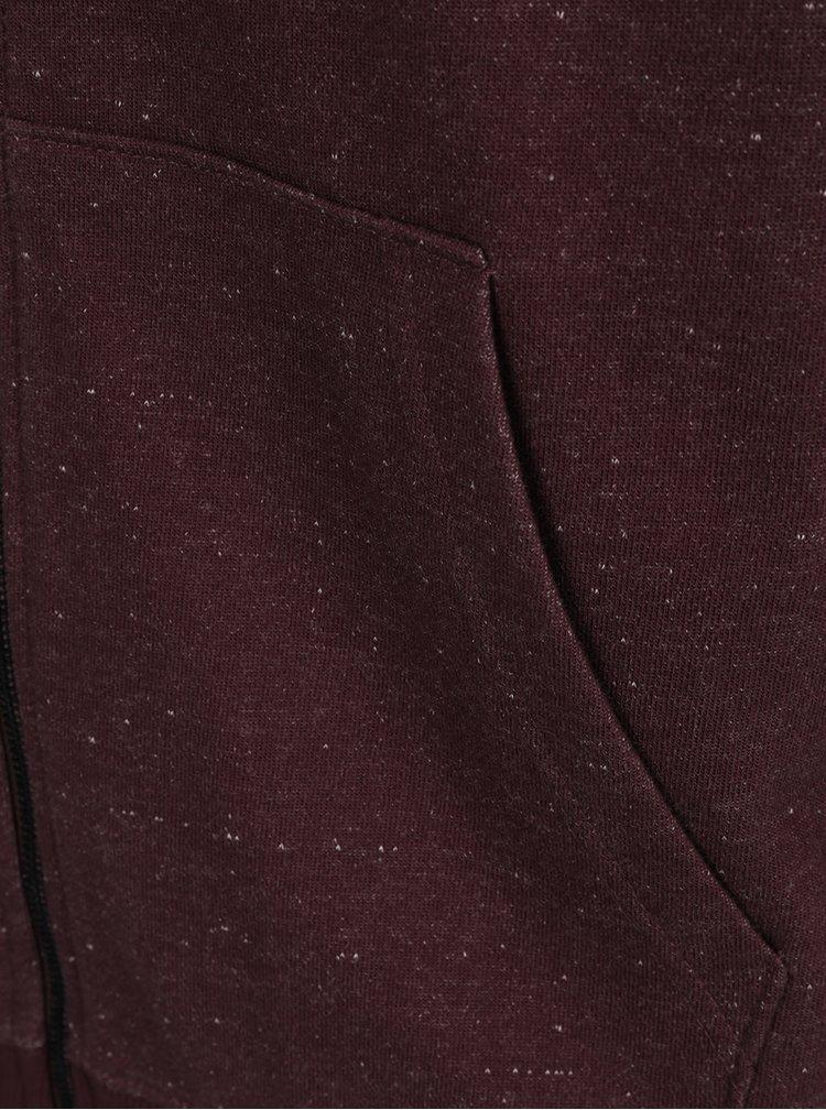 Vínová žíhaná mikina na zip ONLY & SONS Fiske