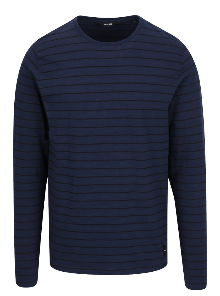 Tmavě modré pruhované triko s dlouhým rukávem ONLY & SONS Panno
