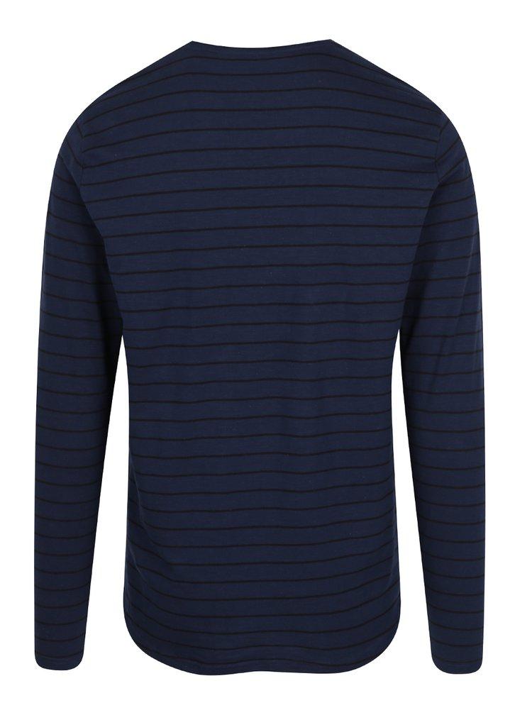 Tmavě modré pruhované tričko s dlouhým rukávem ONLY & SONS Panno