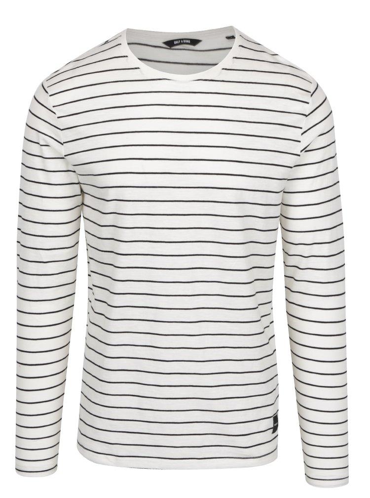 Krémové pruhované tričko s dlhým rukávom ONLY & SONS Panno
