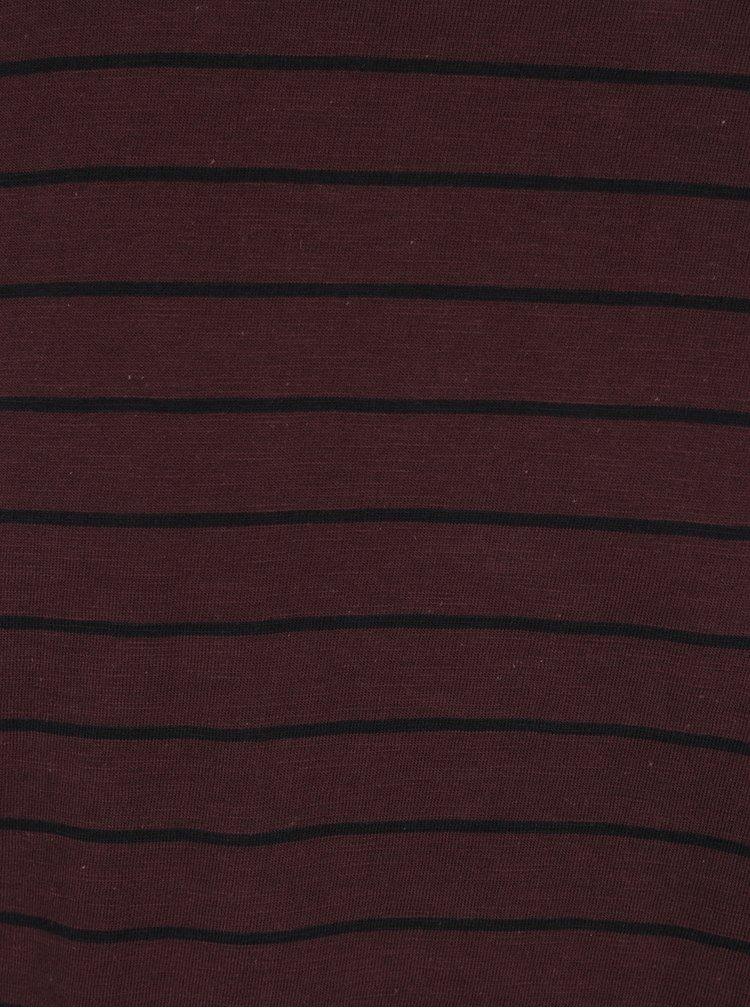 Vínové pruhované triko s dlouhým rukávem ONLY & SONS Panno