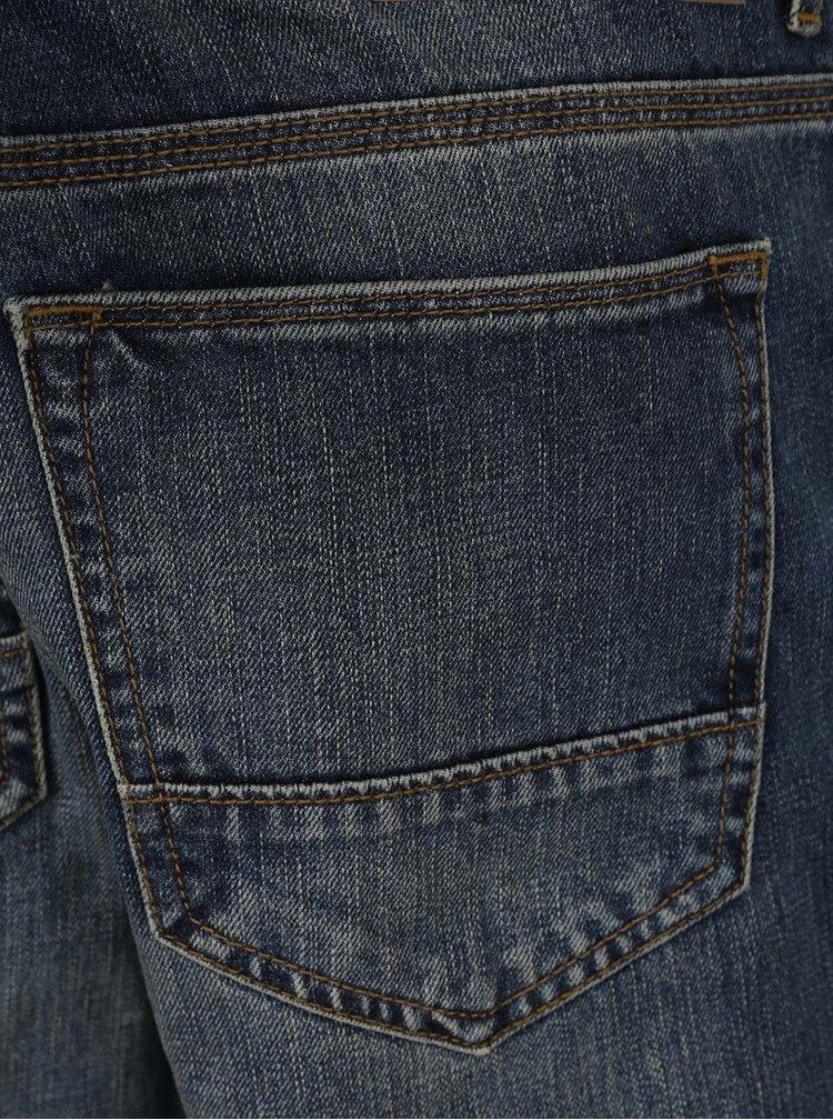 Tmavě modré džíny s vyšisovaným efektem Burton Menswear