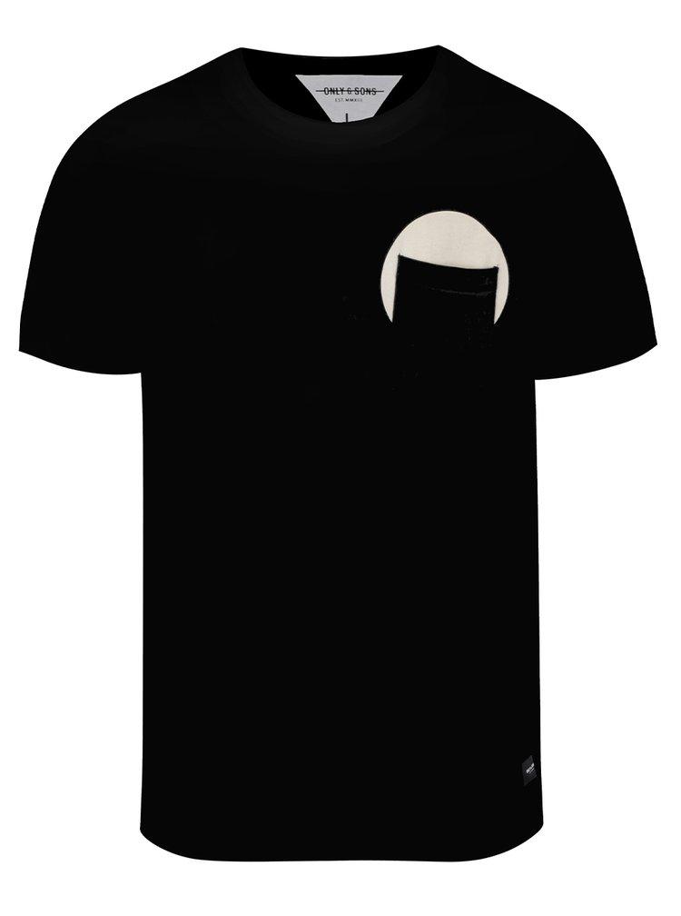 Černé triko s kapsou ONLY & SONS Low