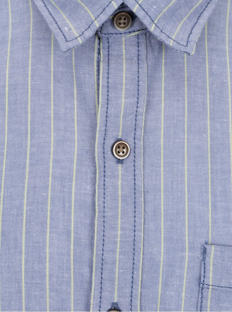 Modrá pánská pruhovaná košile s příměsí lnu s.Oliver